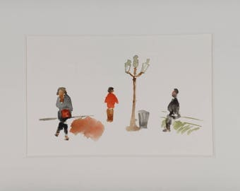 small characters lamppost Paris watercolor