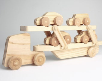 Custom wood toy Car Transporter Lorry (with moving parts and 4x small cars)