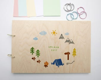Camping Holiday memory album wood can be customized