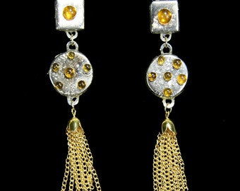 Athena Silver and Gold Handmade .2 oz earrings-hand painted  24 Karat gold earrings, gold tassels, gold hooks, and amber jewel accents