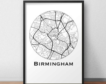 Poster card Birmingham England Minimalist Map (A4, A3, A2) - City map, post town, wall Decoration, city map