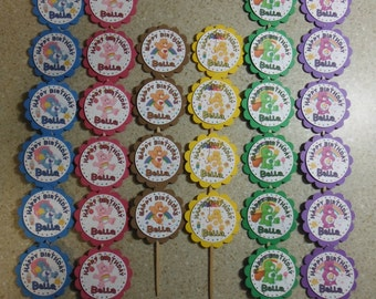 32 Care Bears Cupcake Toppers PERSONALIZED - Picks Party Favors