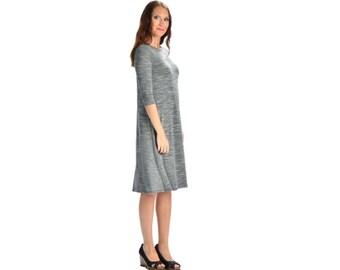 KMW Ladies Tunic Dress, Midi Dress, Casual Dress, Modest Dress, Dress with sleeves, Speckled Grey , Modest clothing modest clothing