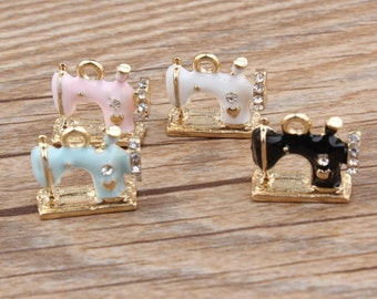 10pcs Sewing Machines with Rhinestone Enamal Charm Pendant for Bracelet Necklace, Sewing Machines Charms DIY Accessories Jewelry