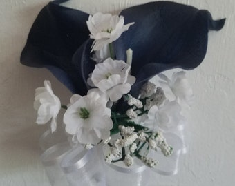 Navy Blue Calla Lily Corsage or Boutonniere