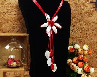Handmade Sweater Necklace - White Shell Flower