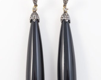 French dangling onyx drop earrings