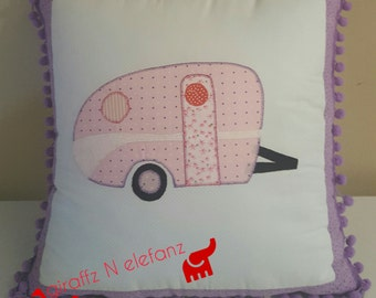 Pink and Purple Vintage Caravan Cushion