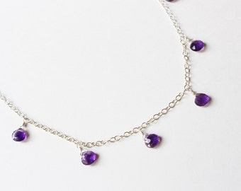 Amethyst Briolette Sterling Silver Necklace
