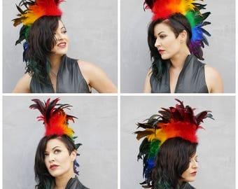 Rainbow Feather Mohawk - HDMH-CX--RAINBOW