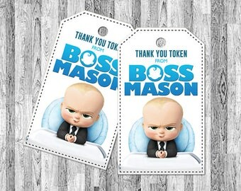 Boss Baby Thank You Tags, Boss Baby Party Favors, Boss Baby Favor Tags, Boss Baby Printables, Boss Baby Birthday, Boss Baby Tags and Labels