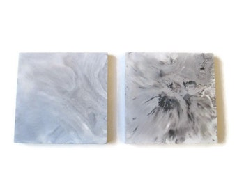 Grey and white marbled concrete square coaster