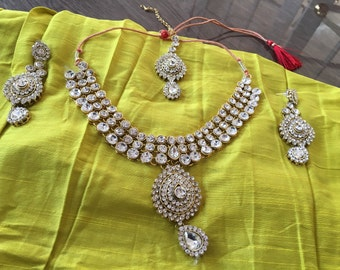 Rudra Series - Stone with Pendant Necklace Set/ indian bridal jewelry set/statement necklace/special occasions/ trousseau collection