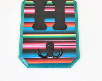 Monogram Letters Wood Wall  Hook Turquoise Serape Alphabet A -Z