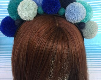 Colourful Blue Handmade Pom Pom Headband Hair Accessory