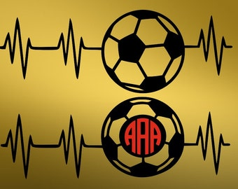 Soccer svg, Heartbeat soccer svg, Heartbeat svg, Soccer monogram svg, Soccer EKG svg,  Cricut, Cameo, Clipart, Svg, DXF, Png, Pdf, Eps .