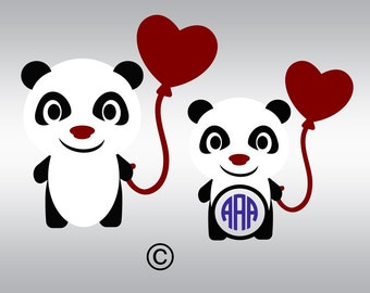 Bear panda  balloon monogram SVG Clipart Cut Files Silhouette Cameo Svg for Cricut and Vinyl File cutting Digital cuts file DXF Png Pdf Eps