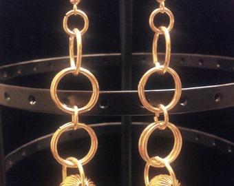 Gold Dangle Link Earrings