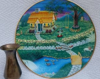 Vintage handpainted plate from 1997, cottage, Country Cottage