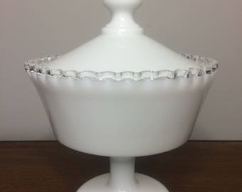 Fenton Silvercrest Silver Crest Footed Candy Dish with Lid - Wedding, Baby Shower