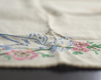 SALE*** Vintage Bluebird & Butterfly Runner - Hand embroidered
