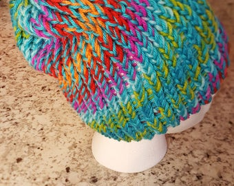 Vibrant rainbow hat, beanie, multicolor