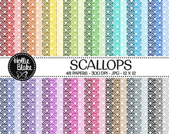 50% off SALE!! 48 Scallops Digital Paper • Rainbow Digital Paper • Commercial Use • Instant Download • #SCALLOPS-103-1