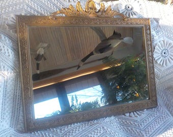 Antique Mirror Gilt Gesso Frame Victorian 27 x 22 Mirror Has Some Age Marks. Frame Is Good. Crown In Restorable  Condition - See Photos