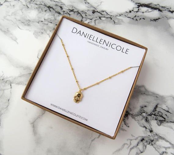 Skull Pendant Necklace, Dainty Necklace, Simple Necklace, Pendant Necklace, Everyday Jewelry, Layering Necklace, Boho Chic, Boho Necklace