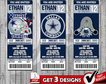 Football Dallas Cowboys Printable Invitation Tickets - Digital files only