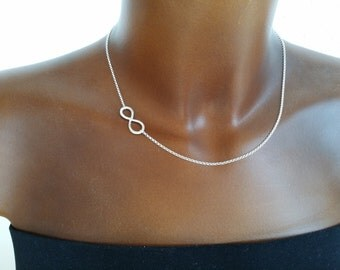 Hammered infinity chain side 925 Silver infinity love friendship