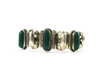 Beautiful Vintage Sterling Silver & Green Onyx Bracelet