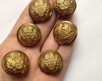 6 antique vintage coat of arms buttons - United States Military