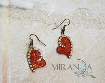 Fimo earrings, fimo earrings heart, saint valentine earrings