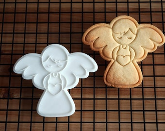 Angel Holding Heart Cookie Cutter and Stamp