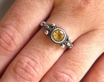 Citrin ring, silver Citrin ring, Citrin silver ring, silver ring, Citrin jewelry, small Citrin ring, yellow Citrin ring, small silver ring