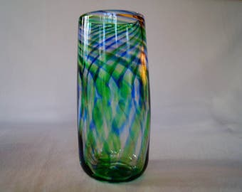 20 - Unique hand-blown tall drinking glass tumbler cup blue and green swirl pattern