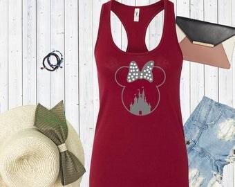 Minnie Mouse Head with Disney Castle Tank. Super Cute Disneyland Tank Top. Disneyworld Tank. Family Disney Shirts. Minnie Mouse Shirt [E0262