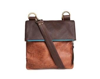 Leather bag shoulder bag leather, handbag, dark brown leather, cognac leather bag, cross body leather bag