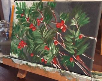 Winter Berries. 5x7.