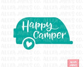 Happy Camper SVG, SVG Cut File, Camping Trailer svg, Summer svg, Cricut, Silhouette, svg png pdf