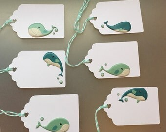 Whale baby shower tags, baby whale tags, Gift Tags, Place cards, Seat Cards, Whale Food Labels, Food Tents -6 per order