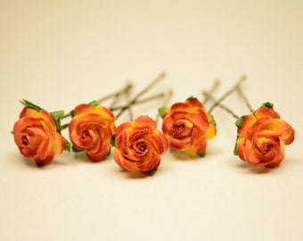 Red/Yellow Rose Flower, Wedding Hair Accessories, Flower Hair Pins, Mulberry Paper Flower Hair Pins