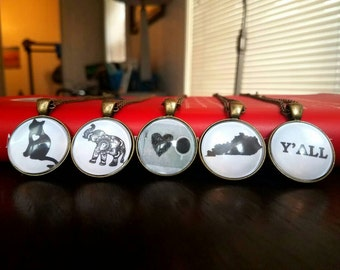 Black & White Pendant Necklace (cat, Elephant, coffee, Kentucky, Y'all) kentucky necklace;  KY lover; Ya'll necklace; Ya'll jewelry