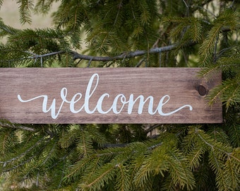 Welcome wood sign   Rustic wood sign   Home Decor   Custom made sign   Farmhouse sign
