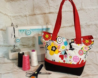 Shoulder tote purse - Red black tote pocketbook - Fabric handbag - Shoulder bag - Sewing items fabric - Shoulder tote - Fabric tote purse