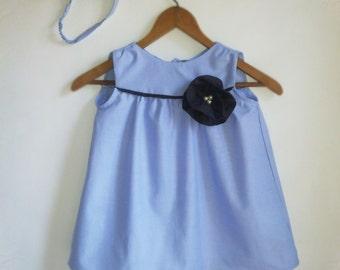 Cotton DRESS 6 GIRL Blue & GRAY + diamond bucker with artificial pearl, Special occasions casual comfortable