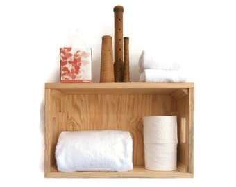 Bathroom Shelving Over The Toilet – Wood Crate Towel Shelf – Rolled Bath Towel Wall Holder – Pallet Crate Wall Shelves–Beach Bathroom Crate
