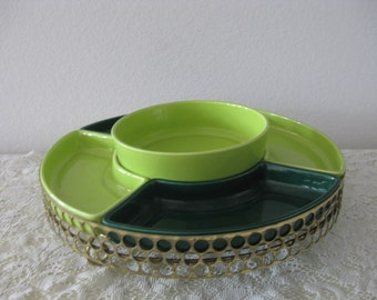 Retro Mid Century Gold Metal Revolving Lazy Susan w/ Green Ceramic Pottery Serving Relish Trays