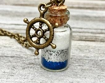 Nauticial Glitter Bottle, Glitter Bottle Necklace, Nautical Glitter Necklace, Nautical Bottle Necklace, Glass Bottle Necklace